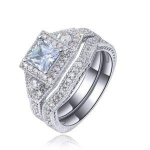 Halo 2 piece Wedding Ring Size 9 Princess